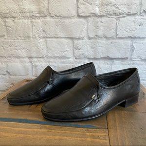 BALLY Black Leather Slip on Loafers Men's